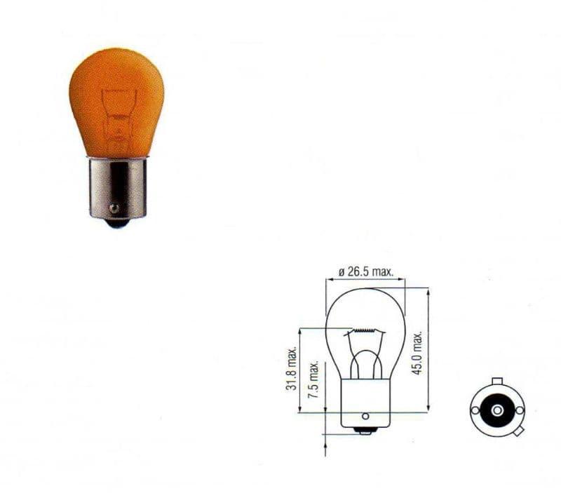 Lamp Bosma 12V - 21W Bau15S | Oranje